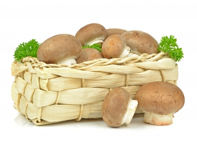 Mushrooms in a basket.