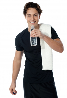 Fitness man drinking water