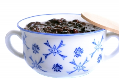 Black Beans in a blue and white bowl