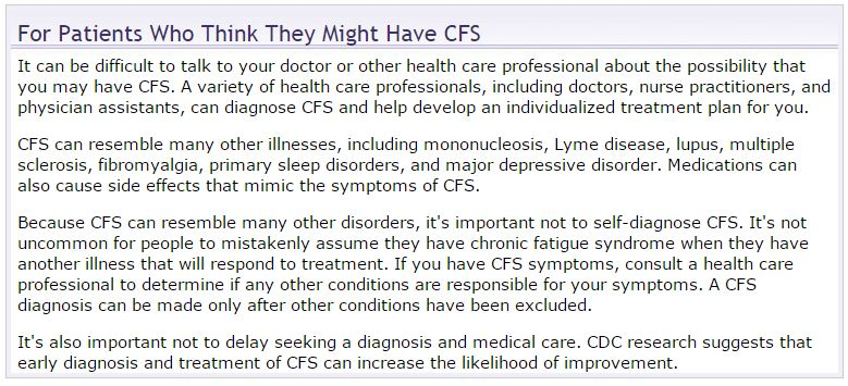 What to do if you suspect CFS by CDC