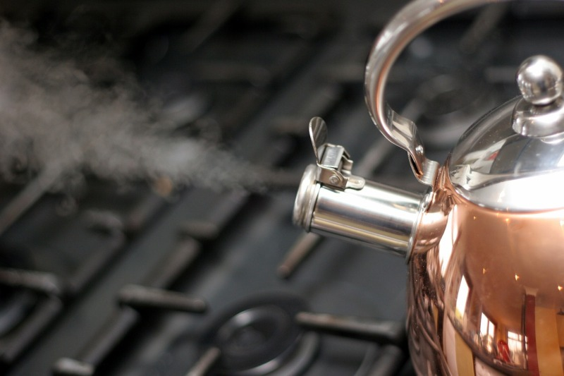 boiling water to clean stoves and sinks