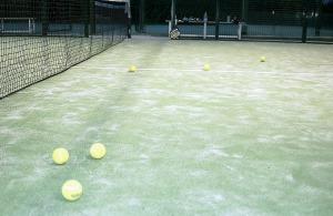 tennis ball over the net