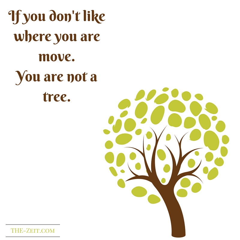 If you don't like where you are move. You are not a tree.